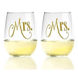 Mrs. & Mrs. Gold Same Sex - Stemless Wine Glasses, 17oz - By Smart Tart