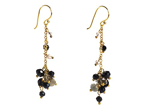 Black Onyx Facet Smoky Quartz Cluster Dangle Chain Earrings Long - Facet Black Onyx