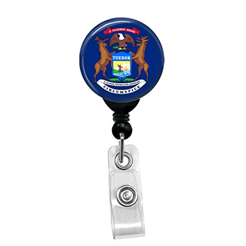 Michigan State Flag Retractable Badge Reel - ID Card Name Tag Custom Badge Holder (Black Badge Reel with Spring Pinch Clip)