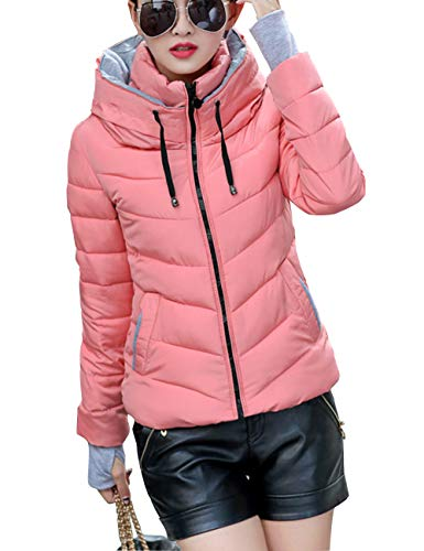 Cotton fit Warm Hooded with Slim Outerwear Coats Womens Fashion Pink BESBOMIG Casual Down Thick Winter Mittens Jacket Y1cvEnfq