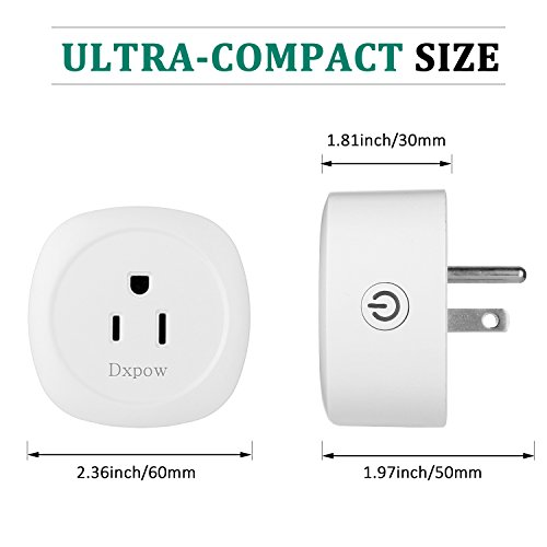 Dxpow Smart Plug Outlet, Mini Wireless WiFi Smart Plug Socket, Compatible with Alexa Remote Control By Smartphone from Anywhere Anytime, Switch On/Off, Timing Function, No Hub Required (2 Pack) by Dxpow (Image #2)