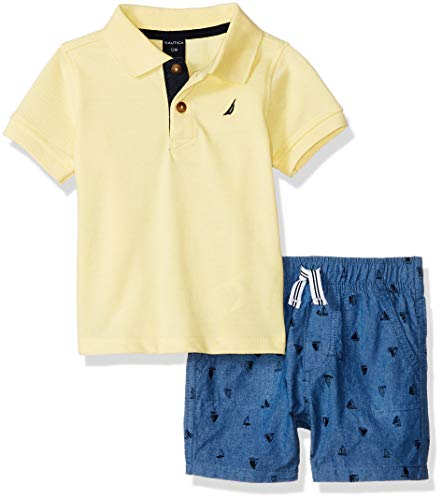 Nautica Sets (KHQ) Baby Boys 2 Pieces Polo Shorts Set, Yellow/Blue 12M