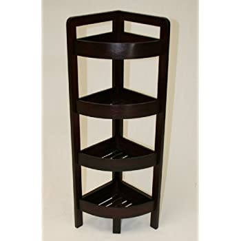eHemco 4 Tier Bamboo Corner Shelf in Espresso
