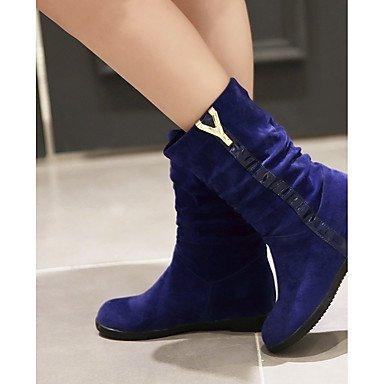 Heart&M Mujer Zapatos Semicuero Invierno Botas de nieve Confort Botas Tacón Bajo Dedo redondo Mitad de Gemelo Volantes Para Casual Vestido Negro beige