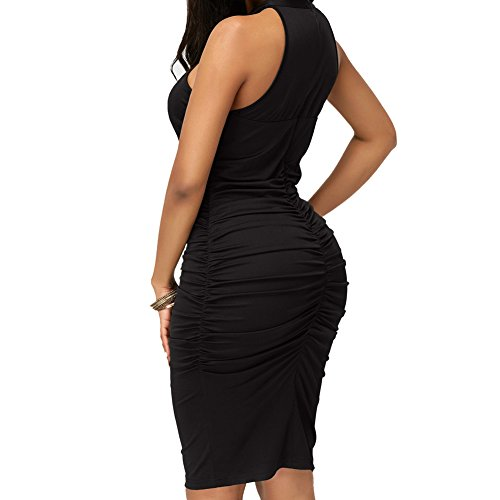 Bandage Halter Dress Out Bodycon4U Black Women's Party Hollow Halter Neck Medium High Evening gf5SwqSY