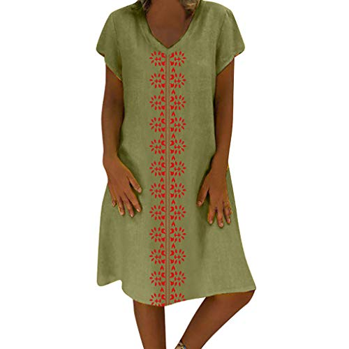Sunhusing Women's Summer Cotton Linen Print V-Neck Short Sleeve Dress Loose Casual Boho Long Maxi Dress Green