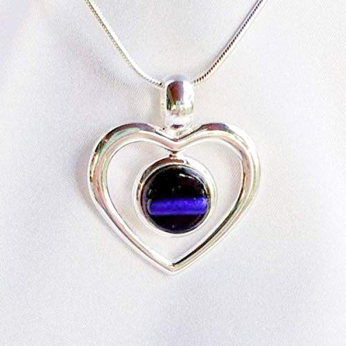 - THIN BLUE LINE Police Ladies Jewelry Necklace Silver Heart Dichroic Fused Glass Pendant