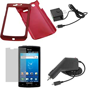 GTMax 4 Pieces -  Red Rubberized Hard Cover Case + LCD Screen Protector + Car Charger + Home Charger For Samsung Captivate SGH-i897 Cell Phone