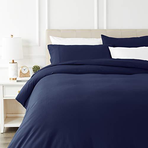 AmazonBasics - Juego de cama de franela con funda nordica - 230 x 220 cm/50 x 80 cm x 2, Azul marino