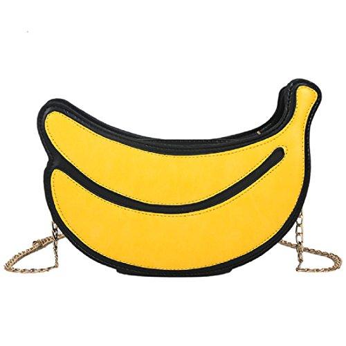 Latest Novelty Cute Pineapple Shape Shoulder Mini Bag for Women (Banana) (Banana Handbag)