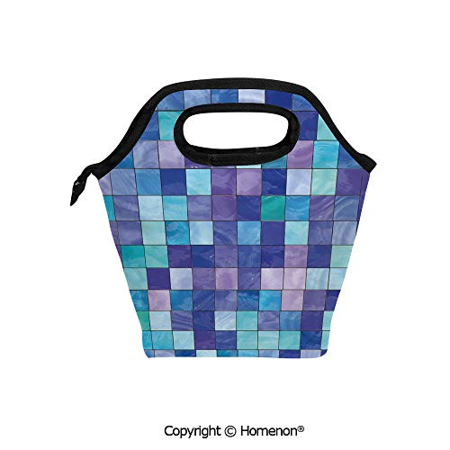 Insulated Neoprene Soft Lunch Bag Tote Handbag lunchbox,3d prited with Stained Glass Inspired Checkered Pattern Dreamy Fantasy Colors Shades,For School work Office Kids Lunch Box & Food - Glass Lilly Stained