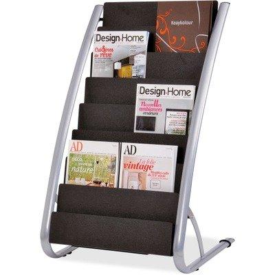 Alba DDEXPO8 Literature Floor 8-Pocket Display Rack, 22-7/8w x 19-3/4d x 36-5/8h, BLK/Chrome - Pocket Literature Floor Display
