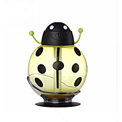 PAAT SHOP Mini USB Cartoon Ladybug Essential Oil Diffuser Humidifier 260ml Night Light Aroma Air Essential Oil Diffuser Mist Maker Car Office Baby Bedroom (Yellow)