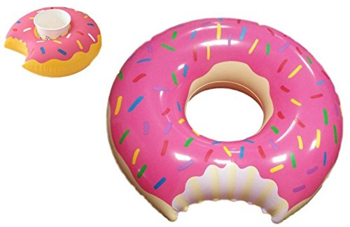 Inflatable Pink Donut Pool Float & Mini Pink Donut Drink Holder- 48 inches- Fun for All Ages