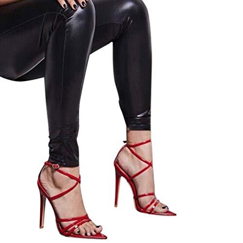 Spillo Scarpa Toe Tacco Donna Da Europee Cinturino I Con Estive A Americane E Sexy Rosso Slingback Elegant Zarupeng Sandali Scarpe Moda Peep wgTpTq