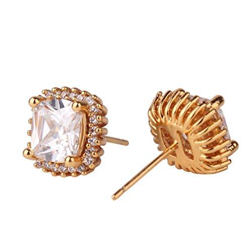 GULICX Yellow Gold Tone Crsystal Simulated Diamond Stud Cuff Earrings