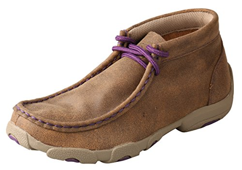 Twisted X Kid's Driving Moccasins Bomber/Purple - High-Cut Outdoor Casual Modern Footwear 5M -