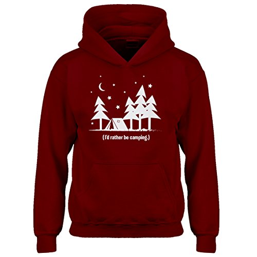 Indica Plateau Kids Hoodie I'd Rather be Camping Medium Red Hoodie by Indica Plateau