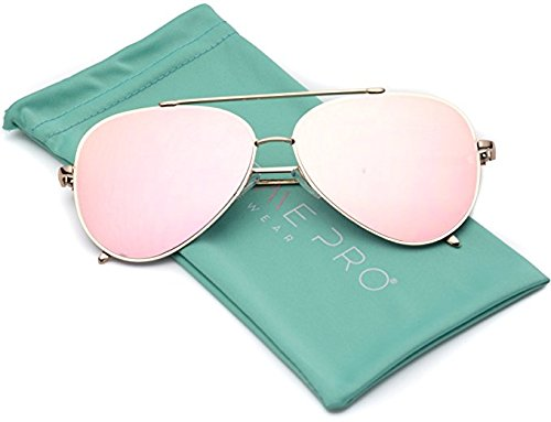 WearMe Pro - Flat Lens Mirrored Revo Metal Frame Aviator Sunglasses