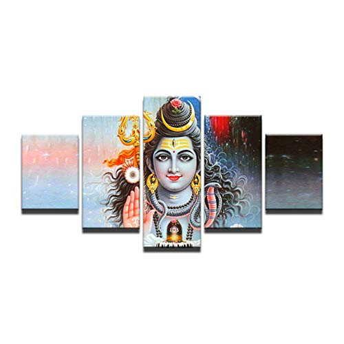 WJFWLH 5 Pieces of Indian God Shiva Painting Living Room Mahesvara Poster Canvas Wall Artist Residence Decoration Hd Print Pictures ()