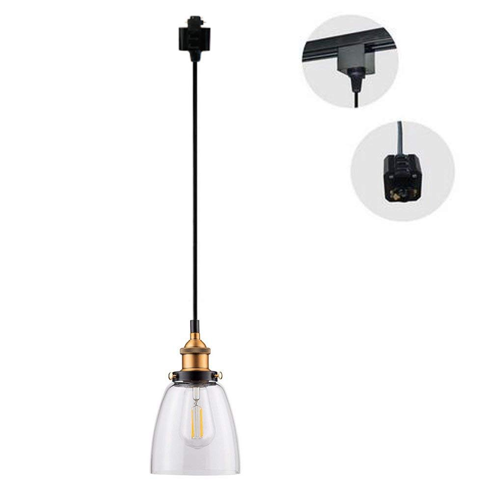 1-Ligh H-Type Wire Glass Track Light Pendants 1.5M Cord Restaurant Chandelier Glass Lampshade Pendant Light Industrial Factory Pendant Lamp Bulb Not Include