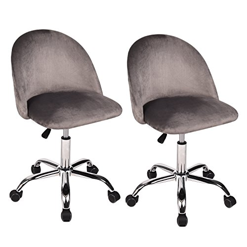 Cheap Mid Back Swivel Adjustable Home Office Chair Modern Accent Velvet Fabric Computer Desk Chair Soft Velvet Seat Armrest 5 Wheels,Set of 2 Grey