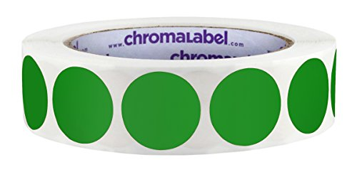 ChromaLabel 1 inch Color-Code Dot Labels   1,000/Roll (Green)