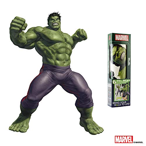 MARVEL HULK VINYL STICKERS - 6 Piece Augmented Reality Marvel Stickers for Kids Rooms - Kids Wall Decals For Bedroom Are Easy To Put Up On Wall & Peel Off - Best Bedroom Décor for Kids ()