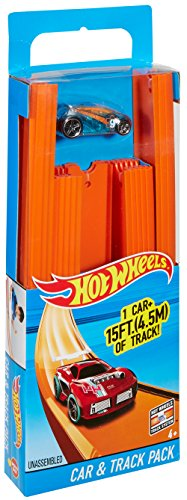 Hot Wheels Track Builder Straight Track Includes 15 Feet of Track and Bonus Car, Styles May Vary