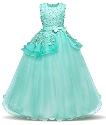 Bestfive Big Girls Princess Pageant Dress Ball Gowns Wedding Party Halloween Green Size -