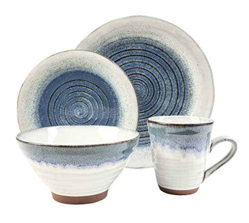 (Sango: Talia Dusk Blue 16 Piece Dinnerware Set, Including 4 Dinner Plates, 4 Salad Plates, 4 Soup Bowls, and 4 Coffee)