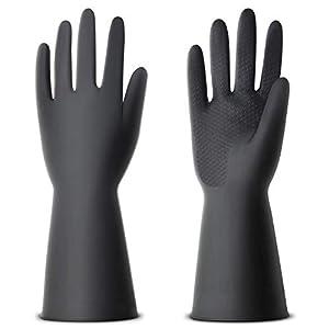 NexStar Multipurpose Non-Slip Rubber Reusable Gardening Dishwashing Scrubbing Cleaning Gloves (Black, 9 Inch,Pack of 1…