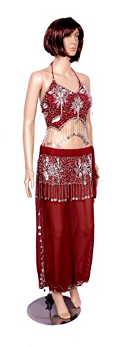 [A 2pc Set of Dark Red Bellylady Belly Dance Costume, Halter Bra Top and Tribal Harem Pants] (Tribal Costumes Of India)
