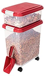 Myriad Pet Solutions 3 Piece Pet Food Storage Bin with Scoop, Red