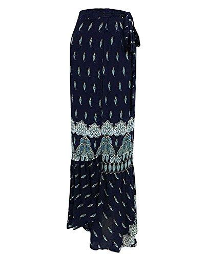 lgant Bleu Haute Maxi Floral Femmes t de Jupe Jupe Party Split Tomwell Asymtrique Imprim Bohme Plage Taille Longue qTfX7