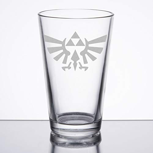 Height Pint Glass - The Legend of Zelda - Triforce (Hylian Crest) - Etched Pint Glass