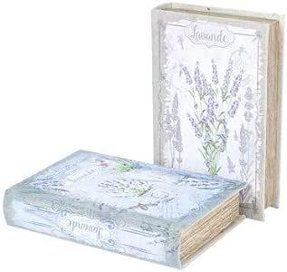 CAPRILO Set de 2 Cajas Libro Decorativas de Madera y Lino Lavanda ...