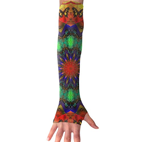 Red-Christ Dazzle Light Butterflies And Tigers Arm Sleeves UV Cooling Sleeves Arm Cover Sun-Protection Men Women Youth