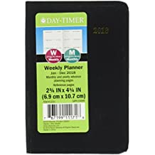 """Day-Timer Weekly / Monthly Mini Planner, January 2018 - December 2018, 2-3/4"""" x 4-1/2"""", Bookbound, Black (13331-1801)"""