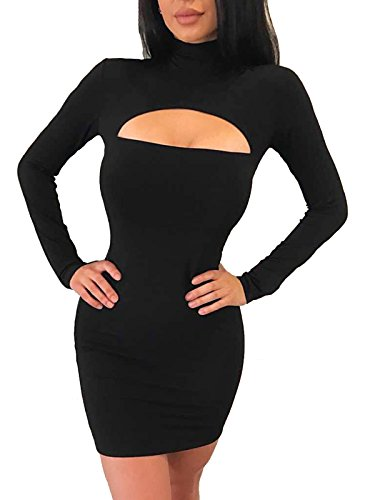 Neck Cut Out Dress (Govc Women Turtleneck Long Sleeve Sexy Stretchy Club Bodycon Mini Party Dress(Black,L))