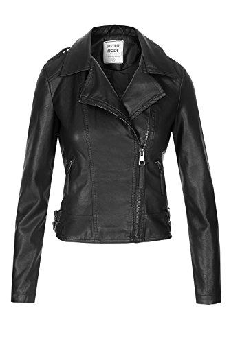 Instar Mode InstarMode Women's Ultimate Faux Leather Moto Biker Short Coat Jacket (JK31611 Black, Large) ()