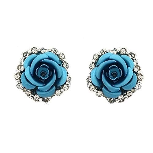 Rhinestones Laced Sided Silver Tone Cubic Zirconia Coral Carved Rose Flower Earring Stud Post Earrings,2 color (Sky Blue)