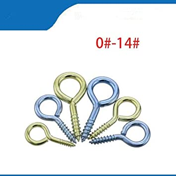 Screws 0#-14# Threaded Iron Hook//Light Hook Self-Tapping Hook//Sheep Eye Socket Hook//Rings//Sheep Eye Screws Size: Blue zinc, Length: 40pcs Number 2