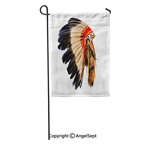 Durable Creative Design 12x18in Garden Flag Head Native American Indian Chief Headdress Mascot Tribal Feather Costume Home Yard House Decor Outdoor Stand ()