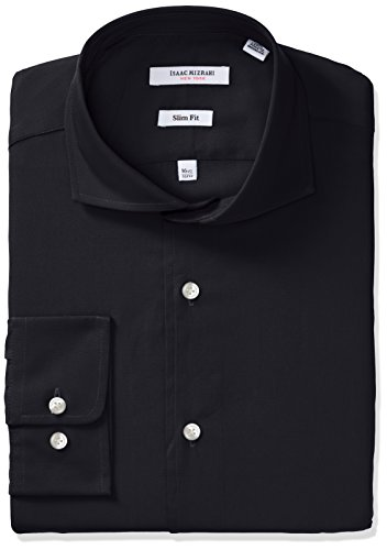 Isaac Mizrahi Men's Slim Fit Solid Broadcloth Cut Away Collar Dress Shirt, Black, 16