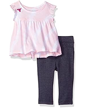Baby Girls' Organic Tee and Knit Denim Jegging Set