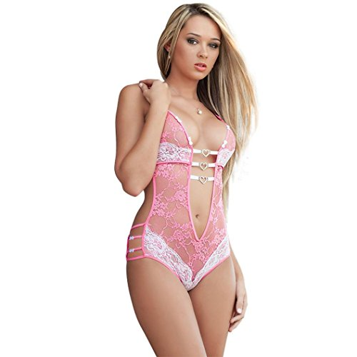 Big Promotion! Women Intimates WEUIE Womens Lace Lady Underwear Nightwear Sleepwear Babydoll Dress Jumpsuits Lingerie (Free Size, Pink)
