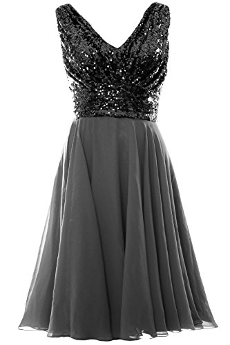 Gown Neck Gray MACloth Chiffon Dress Party Sequin V Bridesmaid Short Wedding Black Women qS77vnxT