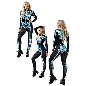- 41bkpwdK2tL - Youmay Womens Halloween Skeleton 3D Print Vampire Costume Bone Skull Skinny Catsuit Jumpsuit