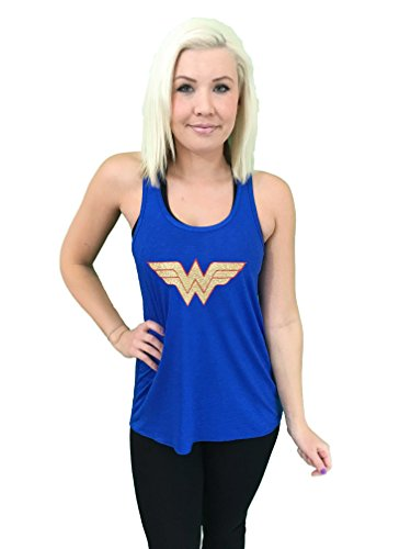 'Wonder Woman' Flowy Women's Tank Top - BLUE Glitter Polyester Blend Cover Up (LG) -